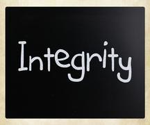 """integrity"" handwritten with white chalk on a blackboard Stock Photos"