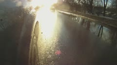 Car goes through the puddles Stock Footage