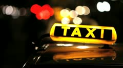 Berlin Taxi (Cab) driving with motion blur and city lights – In 1080p FullHD Stock Footage