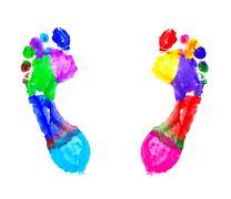 Colourful footprints.JPG - stock illustration