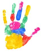Close up of colored hand print Stock Illustration