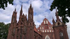 UNESCO heritage St. Anne's Church in Vilnius Stock Footage
