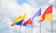 triangular flags - stock photo