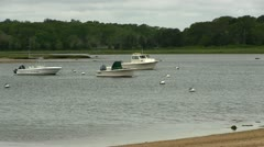 Moored boats cloudy day Cape Cod Stock Footage