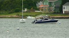 Ski & sail boats in Cape Cod cove Stock Footage