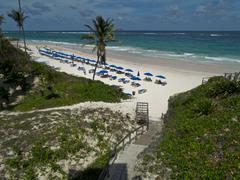 breathtaking view of atlantic ocean and crane beach, barbados - stock photo
