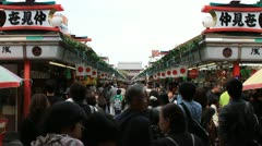 Crowd at traditional Japanese market in Asakusa, Tokyo Stock Footage