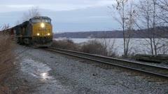 Frieght Train Highland NY 001 Stock Footage