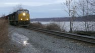 Stock Video Footage of Frieght Train Highland NY 001