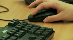 Using mouse and keyboard low angle close up - stock footage
