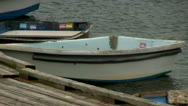 Docked dinghies Cape Cod Stock Footage