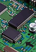 Microchips on circuit board Stock Photos