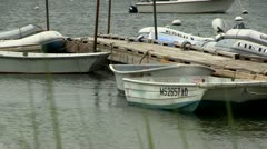 Row of boats tied to pier Cape Cod Stock Footage