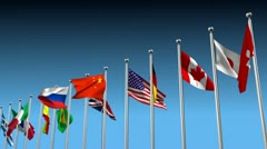 Flags in disagreement metaphor Stock Footage