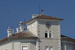 Clock on the tower in Crikvenica - stock photo