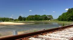 Seaside railroad tracks Stock Footage