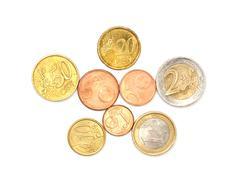 A few euros coins on white Stock Photos