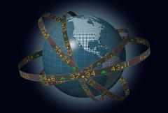 Globe mantereilla kartoitettu liukuvalla pörssissä osakelennättimet Piirros