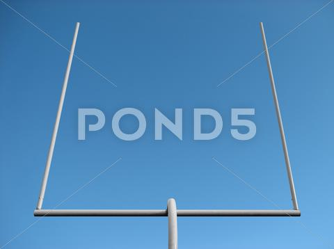 Stock photo of American football goal posts and the blue sky