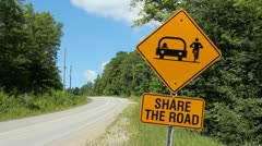 Share the Road. Highway sign. Stock Footage