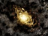 Stock Illustration of Galaxy with star clusters and gases
