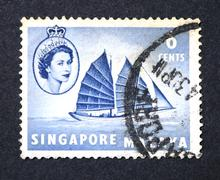 A stamp printed in Singapore Stock Photos