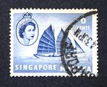 Stock Photo of A stamp printed in Singapore