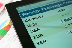 currency exchange information on screen tablet pc - stock photo