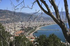 High view of Alanya bay Stock Photos