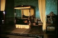A bedroom in the Brighton Pavilion, Brighton, England Stock Footage