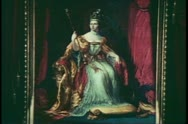 Painting of Queen Victoria, English monarch, English history Stock Footage