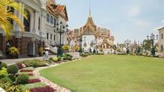 Visitors in Grand Palace, Bangkok, Thailand Stock Footage