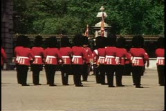 Changing of the Guard, guards march, Buckingham Palace, London, England Stock Footage
