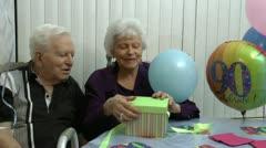 Happy Senior Woman Celebrates 90 Stock Footage