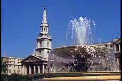 St. Martin's in the Fields, fountain, London, England Stock Footage