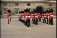 Stock Video Footage of Changing of the Guard, close up, hoist rifles, Buckingham Palace, London,