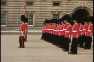 Changing of the Guard, pan right, Buckingham Palace, London, England Stock Footage