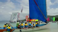Stock Video Footage of Martinique Yawl Race