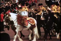 Trooping the Color, 1976, London, England, close up, tympani on horses Stock Footage