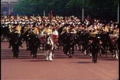 Trooping the Color parade with horses and troops  in London, England, 1976. Stock Footage
