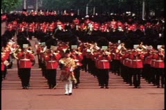 Trooping the Color parade with troops  in London, England, 1976. Stock Footage