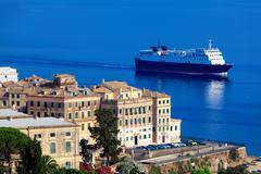 enormous cargo ship near corfu city, greece - stock photo