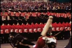Trooping the Color, 1976, London, England, Queen Elizabeth II, on horseback Stock Footage