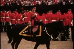 Trooping the Color, 1976, London, England, Queen Elizabeth II, on horseback Stock Footage