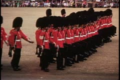 Trooping the Color, 1976, London, England, Coldstream Guards march Stock Footage