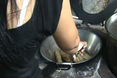rural dirty kitchen cook - stock footage