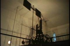 Big Ben clock room mechanical elements, London, England Stock Footage