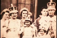 Princess Elizabeth of England at age 10, black and white archival Stock Footage