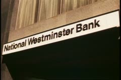 The City, financial district, London, England, bank sign, National Westminster - stock footage