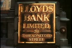 The City, financial district, London, England, bank sign, Lloyds - stock footage